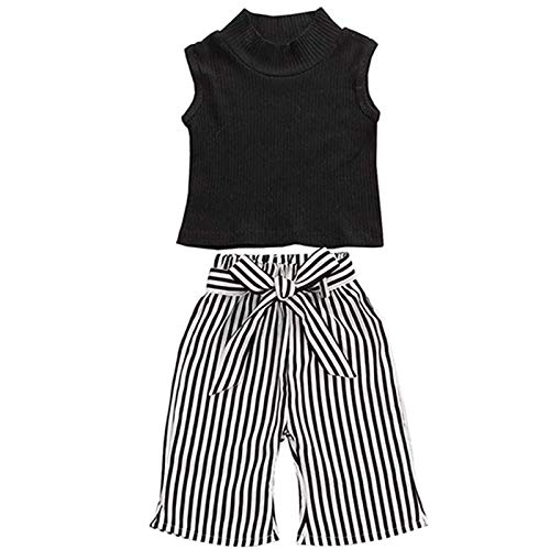 2Pcs Toddler Baby Girls Sleeveless High Neck Tank Tops+Striped Long Pants Kids Summer Outfits Clothes Set (Sleeveless Black, 12-18 Months)