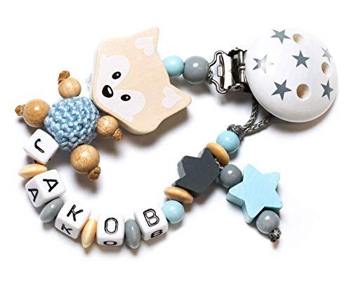 Baby Schnullerkette mit Wunschnamen - Junge - Mädchen - Fuchs - Bär - Füßchen - Wolke - Herz - Stern (Schnullerkette mit Namen - natur/blau - Fuchs)