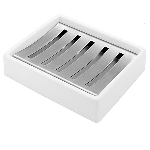 MUAMAX Ceramic Soap Dishes Holders White Self-Draining Soap Tray, Double Layer Soap Drainage Holder for Bathroom Tub Shower Kitchen Sponges Draining Soap Box