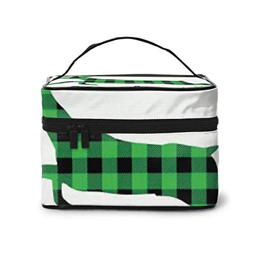 Vert et Noir Buffalo Plaid Moose Cosmetic Organizer Portable Storage Bag, Multifunction Toiletry Bags