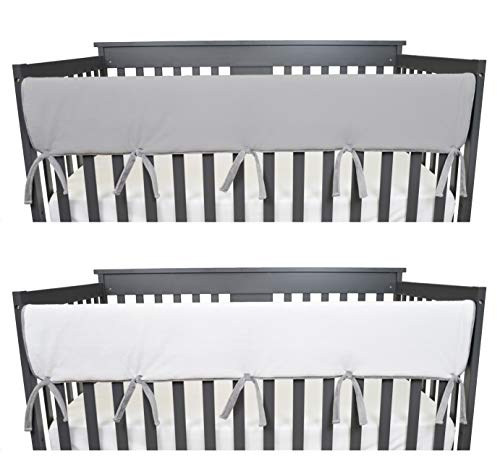 American Baby Company Supreme 1 Pack Heavenly Soft Chenille Reversible Crib Rail Cover for Long Rail, Grey and White, Wide for Rails Measuring up to 18
