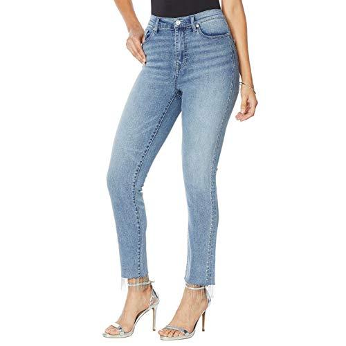 DG2 by Diane Gilman Petite Embellished Side Fringe Hem Jeans. 728987-Petite 2 Petite Chambray Blue