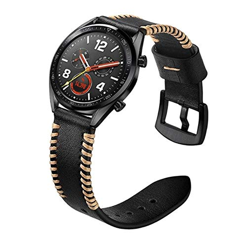 XYL-Q Correa de Reloj Watch Correa De Cuero 22 Mm For La Correa De Reloj De Huawei GT2e GT2 46mm (Negro) (Color : Black)