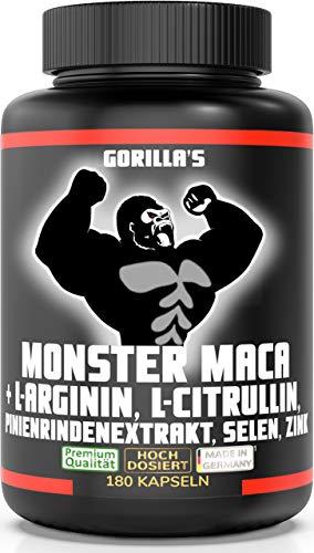 GORILLA\'S MONSTER MACA extra stark + hochdosiert - mit Gorilla\'s geht\'s ab! 180 Kapseln Maca Wurzel Extrakt 50:1 + L-Arginin, L-Citrullin, Pinienrinden Extrakt 100:1, Selen, Zink, 1 Dose (1x142,7g)