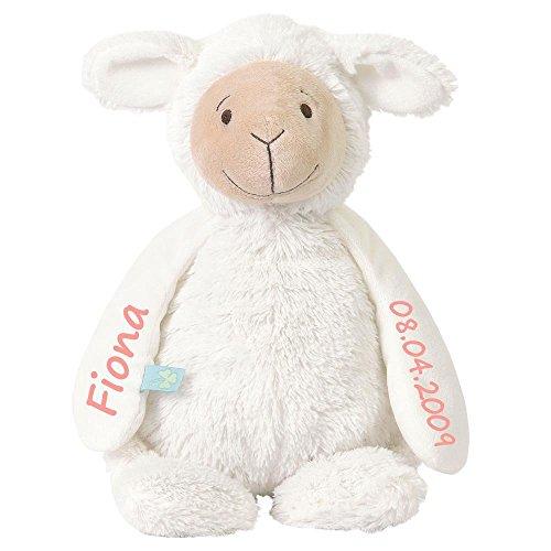 Elefantasie Stofftier Schaf mit Namen und Geburtsdatum personalisiert Geschenk 20cm weiß Aufdruck rosa