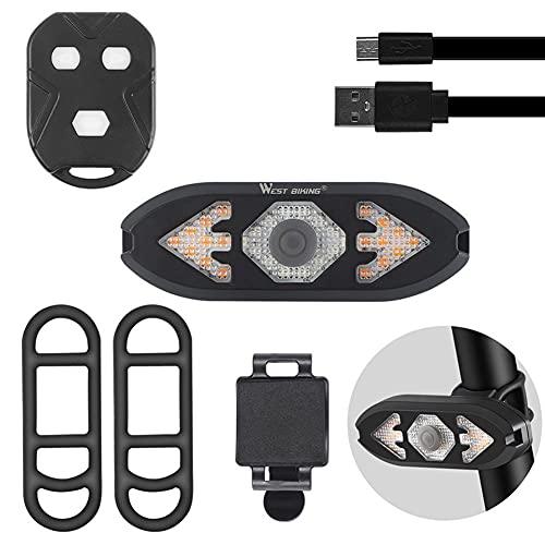 SOBW Intermitente para bicicleta, luz trasera para bicicleta con mando a distancia, luz LED para bicicleta con mando a distancia delantera y trasera, luz de advertencia de seguridad con tweeter