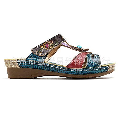 CCJW Zapatillas de ducha con espalda abierta, sandalias de viento de la familia de flores, zapatos de mujer con estampado de cuña color_39, Unisex Adultos Playa Piscina Zapatos kshu