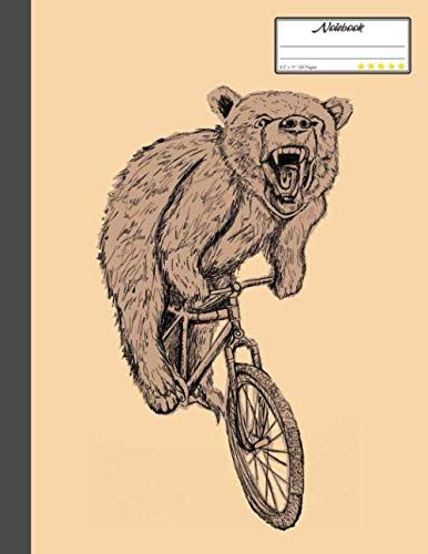 "Bear Cycling Notebook: Lined Notebook, Diary, Track, Log or Journal - Gift for Mountain Bikers, Cyclists, Bicycles Fans, Off-Road Cycling Lover - (8.5"" x 11"" 120 Pages)"