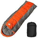 WhiteSeek 寝袋 シュラフ 封筒型 コンパクト収納 抗菌仕様タイプ B【最低使用温度-15℃ 1800g】 (オレンジ×グレー)