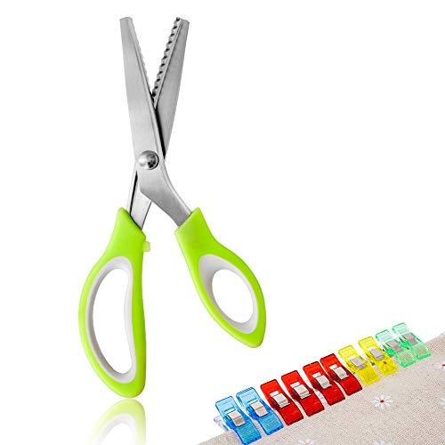 JTENG - Tijeras de zigzag de tela, acero inoxidable, tijeras profesionales de tela con mango verde para costura, plástico y manualidades (con 10 pinzas de tela)