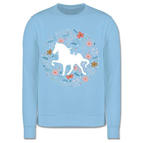 Shirtracer Tiermotive Kind - Pferd mit Blumen - 152 (12/13 Jahre) - Hellblau - Pullover Kinder mit pferden - JH030K - Kinder Pullover