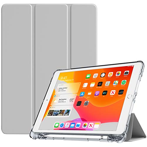 TiMOVO Case for New iPad 7th Generation 10.2' 2019, Soft TPU Translucent Frosted Back Protective Smart Case with Auto Wake/Sleep & Pencil Holder Fit iPad 10.2-inch Retina Display - Light Gray