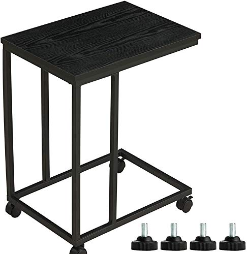 MSmask Beistelltisch Sofa Kleine Kaffeetisch Wohnzimmer Laptoptisch Couchtisch 4 Wohnzimmertisch auf Rollen Industrie-Design Tischpltte aus Holz (Schwarz + Schwarz Holzmaserung)