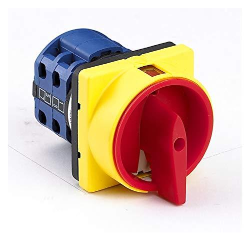 Giratorio Interruptor Interruptor de leva rotativo de candado 20A y 25A OFF-ON 0-1 4 polos Desconectar interruptor, interruptor de aislador LW26GS CA10 48x48mm 64x64mm ( Color : 20A 48X48mm panel )