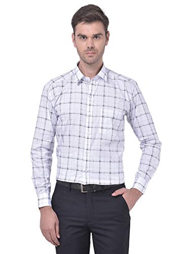 ACCOX Men's Full/Long Sleeves Casual Slim Fit Cotton Checkred Shirt(GO604_44) White