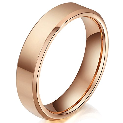 Fashion Month Women 4mm Tungsten Carbide Simple Style Wedding Engagement Rose Gold Band for Her Beveled Edges Ring