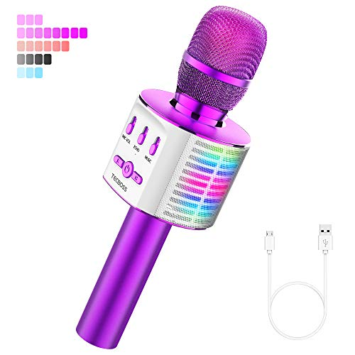 TECBOSS Microphone for Kids, Wireless Bluetooth Karaoke Microphone with LED Lights MP3 Players, The Best Gifts Toys for Girls Boys Adults All Age