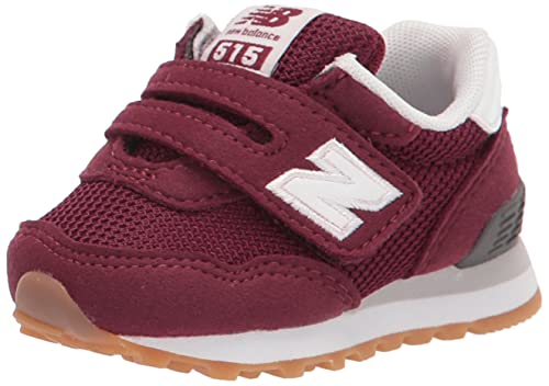 New Balance Baby Boys 515 V1 Hook and Loop Sneaker, Garnet/White, 3 Wide Infant