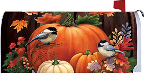 Custom Decor Pumpkin Barrel - Mailbox Makeover - Vinyl with Magnetic Strips for Steel Standard Rural Mailbox - Made in The USA - Copyright, Licensed and Trademarked Inc.