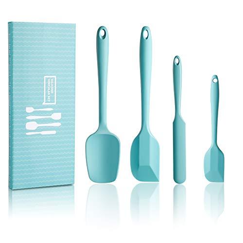 SveBake Silikon Spatel Teigschaber - 4 Stück Spatula Hitzebeständig BPA-Frei mit Metallkern für Kochen und Backen, Türkis