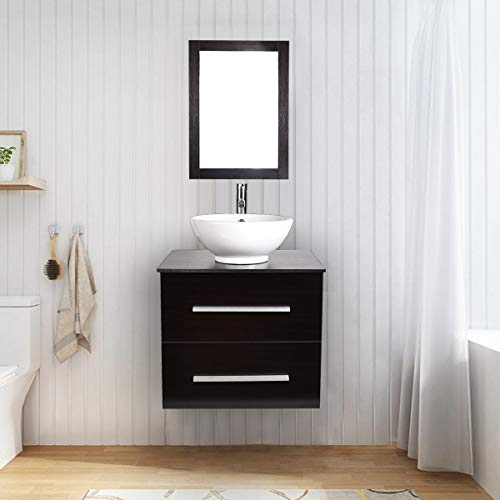 24 Inch Bathroom Sink with Cabinet | Floating Vanity | with Mirror and Water Saving 1.5 GPM Chrome Faucet Counter Top Floor Cabinet, Dark Espresso