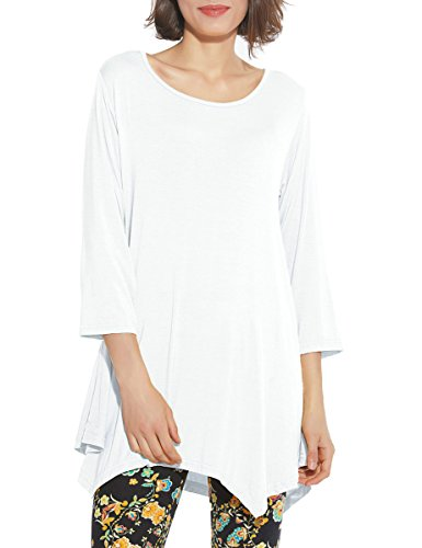 BELAROI Women 3/4 Sleeve Swing Tunic Tops Plus Size T Shirt (M, White)