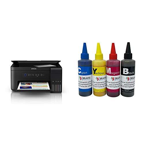 Epson ET-2700, Impresora Inalámbrica 3 en 1, Wi-Fi, USB, Color, Tamaño Único, Color Negro + Bramacartuchos 4 Botes de 100ml de Tinta de sublimacion. Compatible con impresoras epson de 4 Colores