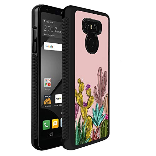 LG G6 Case with Watercolor:ctus Design, Black TPU Soft Rubber Silicone case, Shock-Absorbing Non-Slip Drop Protection Cover Case for LG G6
