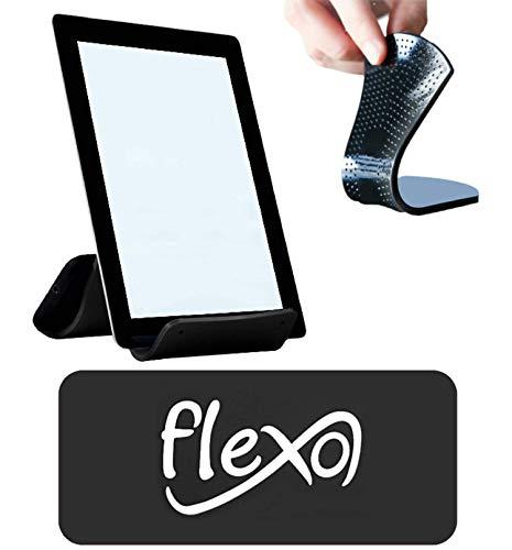 Flexo - Supporto Universale per Cellulare, Tablet, PC. Portacellulare Flessibile Pieghevole e Adesivo - Resistente, Rivestito di Silicone e Gomma Antiscivolo (Nero)