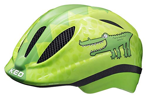 KED Meggy Trend S Green Croco - 46-51 cm - inkl. RennMaxe Sicherheitsband - Fahrradhelm Skaterhelm MTB BMX Kinder Jugendliche