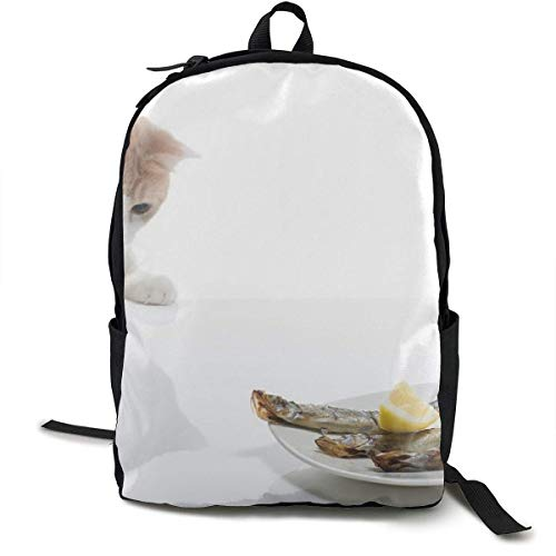 Cat Plates Food Delicious School Backpack School Bag Bookbag...