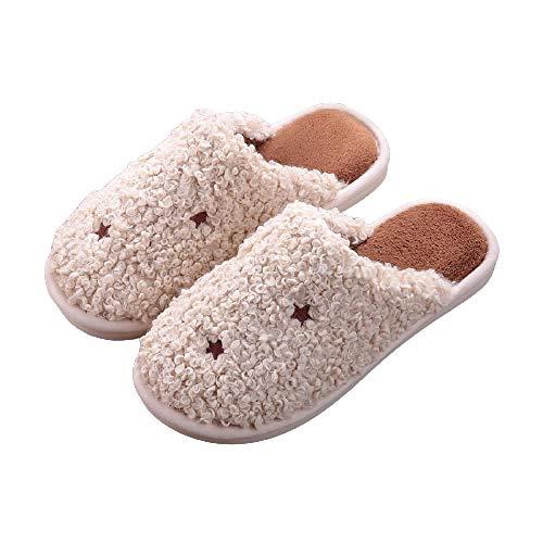 Zapatillas de felpa para el hogar con plataforma plana para mujer Pantuflas Térmicos de Invierno Suave Algodón Casa Zapatos Cómodo Y Antideslizante,Brown,42-43