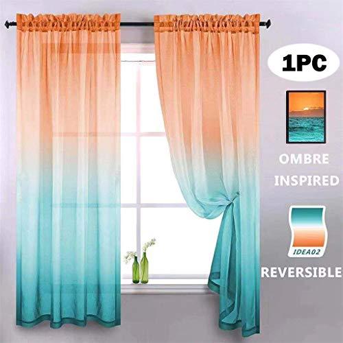 Hunpta @ Gardine Voile Vorhang mit Tunneldurchzug Transparent Gardine Ösenschal Wohnzimmer Schlafzimmer Kurz Fenstervorhang Fenster Dekor, 200 x 100cm, 1 Stück