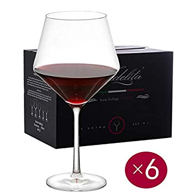 Wine Glasses, white and red, Lead-Free Crystal, Hand Blown, Thin Rim, Lipless, Long Stem, Burgundy, 15-Ounces, Buy 4 get 6