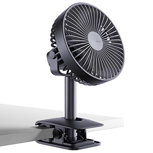 Battery Operated Clip Fan for Baby Stroller, 4000 mAh Portable Desk Fan with 4 Speeds, Rechargeable USB Personal Fan for...