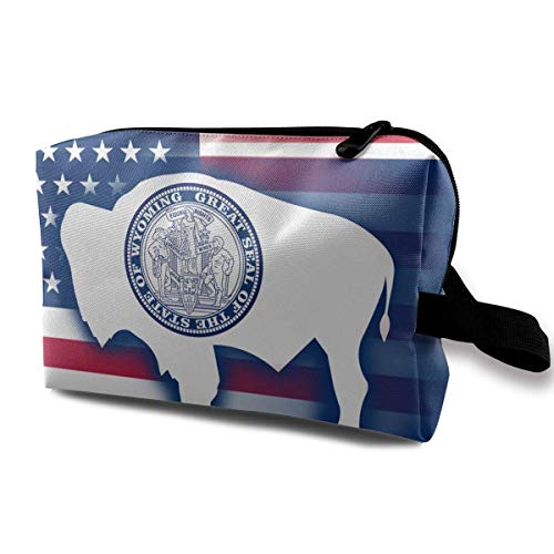 USA Wyoming State Flag Petits Sacs à cosmétiques Voyage Maquillage Sac Organisateur À La Mode