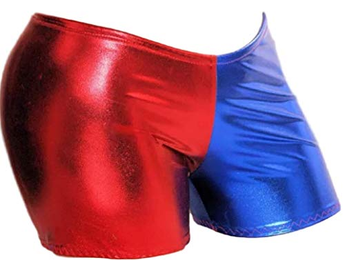 Prettymake Womens Suicide Squad Harley Quinn Harlequin Metallic Cycling Shorts RedBlue M/L 8-10