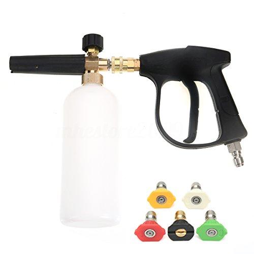 NUZAMAS Arandela de alta presión con 5 boquillas de agua y 1L Kit de botellas de lanza de espuma de nieve para la plataforma del piso de coches Limpieza de Windows Conector rápido