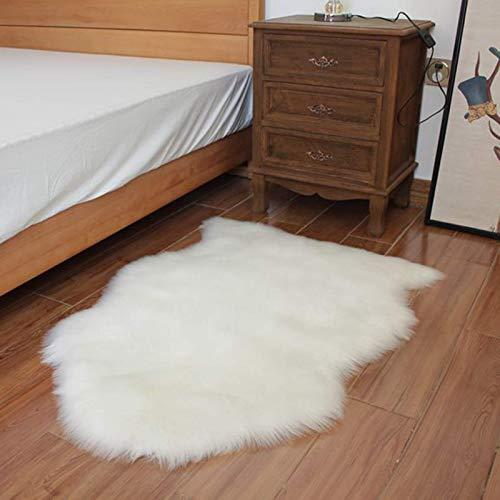 ZLJ Alfombra de Piel de Oveja sintética, Felpa sintética de Piel, alfombras mullidas para áreas, Alfombra de Yoga Antideslizante para Sala de Estar, Dormitorio, sofá, alfombras, Blanco, 75x120cm