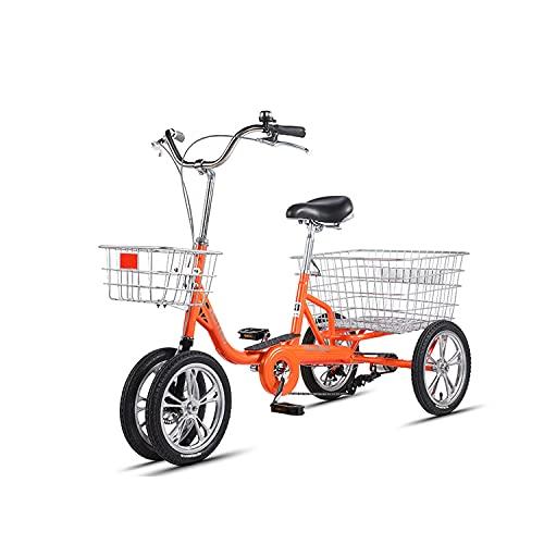 Triciclo para adultos Triciclo Para Adultos Marco De Acero De Carbono High Carbon Bicicleta Para Adultos Bici Del Crucero De Tres Ruedas Para La Recreación, Compras, L125cm * H108cm(Color:Orange)