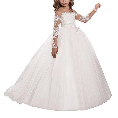 WDE Spitze Stickerei Mädchen Brautjungfer Kleid Langarm Ärmel Kinder Geburtstagsfeier Ballkleider (6, Weiß)