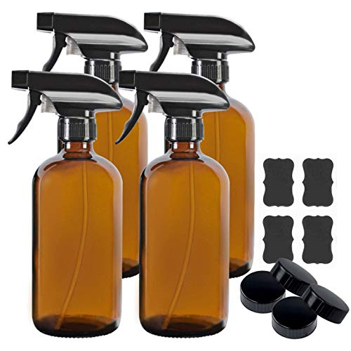 4 Pack 16 oz Amber Boston Glass Spray Bottles,Refillable Trigger Sprayers with Mist & Stream for Essential Oils, Bath, Beauty, Hair & Cleaning Products.Include 4 Durable Caps and 6 Chalk Labels.
