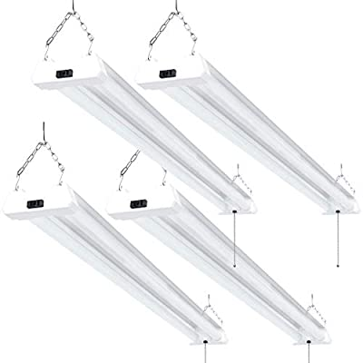 Sunco Lighting 4 Pack LED Utility Shop Light, 4 FT, Linkable Integrated Fixture, 40W=260W, 5000K Daylight, 4500 LM, Clear Lens, Surface/Suspension Mount, Pull Chain, Garage - ETL, Energy Star