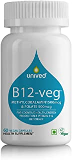 Unived Vitamin B12 Veg, 1500mcg Methylcobalamin (99%), with 500mcg Methyltetrahydrofolate (5-MTHF), Brain Cells & Nerve Ti...
