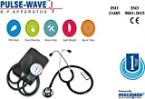 Niscomed Pulse-wave Aneroid Type Manual Blood Pressure Monitor Sphygmomanometer (Dial type/watch type) with Stethoscope (Black)