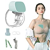 Wearable Breast Pump Hands-Free Portable Breast Pump Electric Breast Pump Wireless Unilateral Breast Pump Massage Breast Feeding Automatic Silence for Traveling Home (Green)