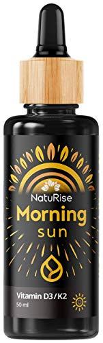 NatuRise Vitamin D3/K2 Morning Sun 50ml | Hochdosiert | Geschmacksneutral | Pipette und Dosierskala | Vegetarisch & Natürlich | UV-Glas | Made in Germany