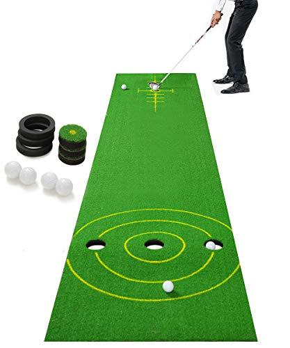 2-FNS Golf Putting Green Mat, 11.5 x 2.36Ft Extra Wide Golf Practice Mat with 4 Golf Balls &...