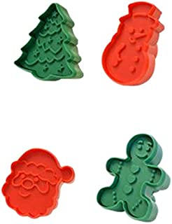 R&M International 0469 Christmas Double-Sided Cookie Stamper Set, Assorted Designs, 4-Piece Set