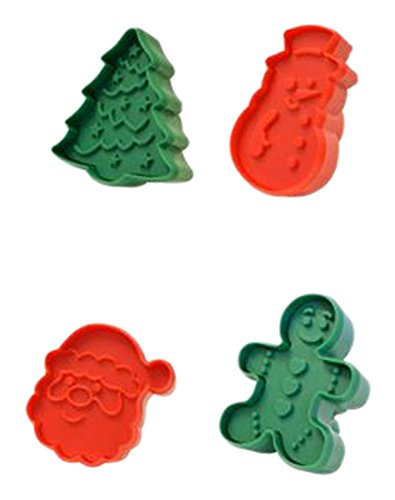R&M International 0 Christmas Double-Sided Cookie Stamper Set, Assorted Designs, 4-Piece Set